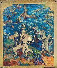 B.A.C.S. / Marius Alexandre (1880-1959)   Paysage forestier.   Paire de plaques en céramique polychrome irisée.   Marquées Bacs et monogrammées M. A.   H. : 23,5 cm. L. : 17,5 cm.
