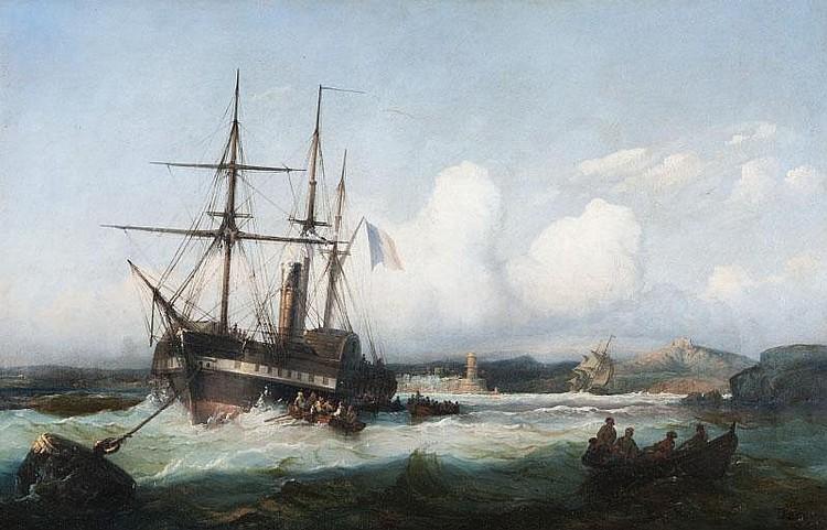 François-Pierre-Bernard BARRY (Marseille 1813 - Saint-Laurent-du-Var 1905)Trois mâts devant le port de Marseille.Toile.Signée en bas à droite.39 x 60 cm.