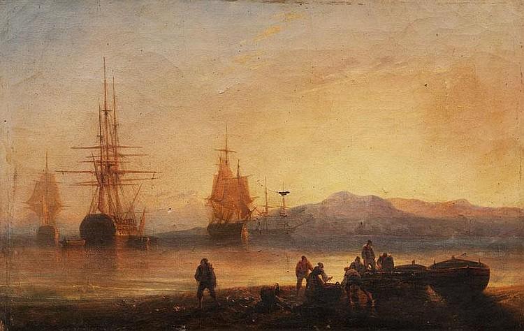 François Pierre BARRY (1813-1905)Caravelles dans la rade.Huile sur toile.Signée en bas à droite.30 x 46 cm.