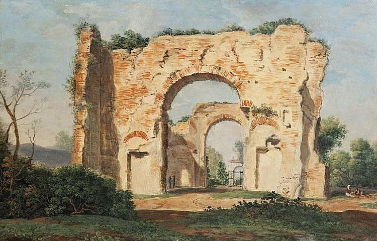 Prosper Georges Antoine MARILHAT(1811-1847)Ruines aux environs de Rome.Huile sur panneau.Signée en bas à gauche.27 x 41 cm.