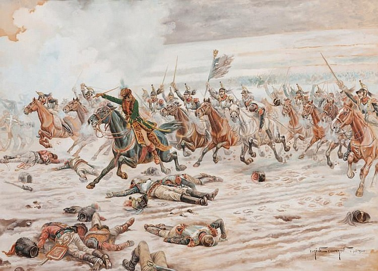 Eugène CHAPERON (1857-1938)La charge pendant la bataille de Wagram.Huile sur papier.Signée et datée 1900 en bas à droite.62 x 86 cm.