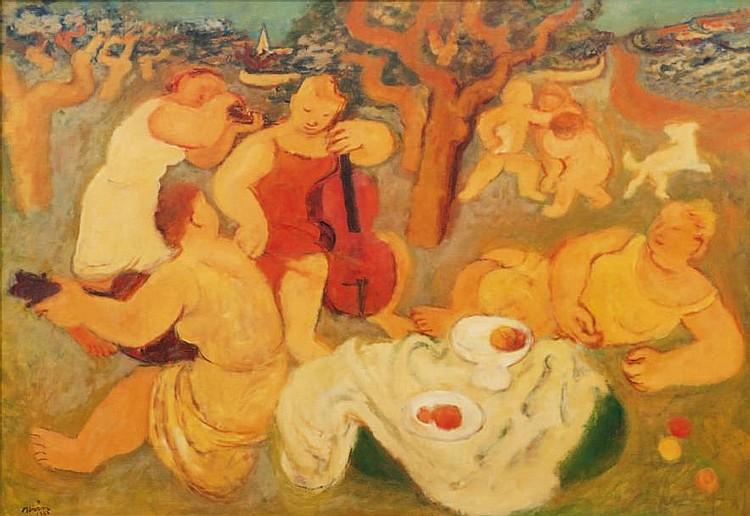 Maurice Louis SAVIN (1894-1973)Le déjeuner sur l'herbe.Huile sur toile.Signée et datée 1963 en bas à gauche.80 x 115 cm.