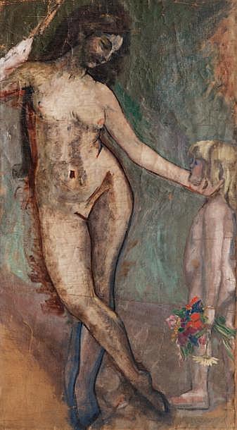 Jacqueline MARVAL (1866-1932)Femme et enfant.Huile sur toile.Signée en bas à droite.118 x 66 cm.