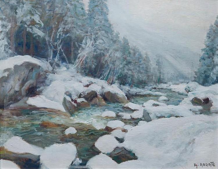 Angelo ABRATE (1900-1985)Paysage de montagne.Huile sur panneau.Signée en bas à droite.33 x 41 cm.