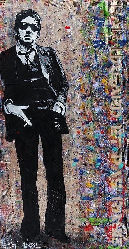 JEF AEROSOL (1957)  Par hasard et pas rasé (2011).  Pochoir, peinture aérosol et collage de carton sur papier  kraft marouflé sur bois.  Signé, titré et daté au dos.  190 x 90 cm.