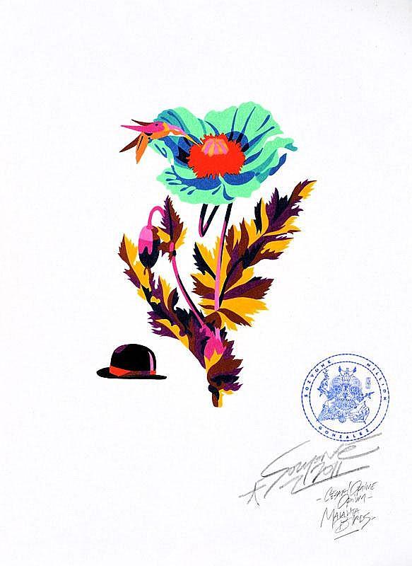 SOZYONE GONZALEZ (1973)  Hunters in the high mountains.  Crayons Karisma sur papier Fabriano.  30 x 42 cm.