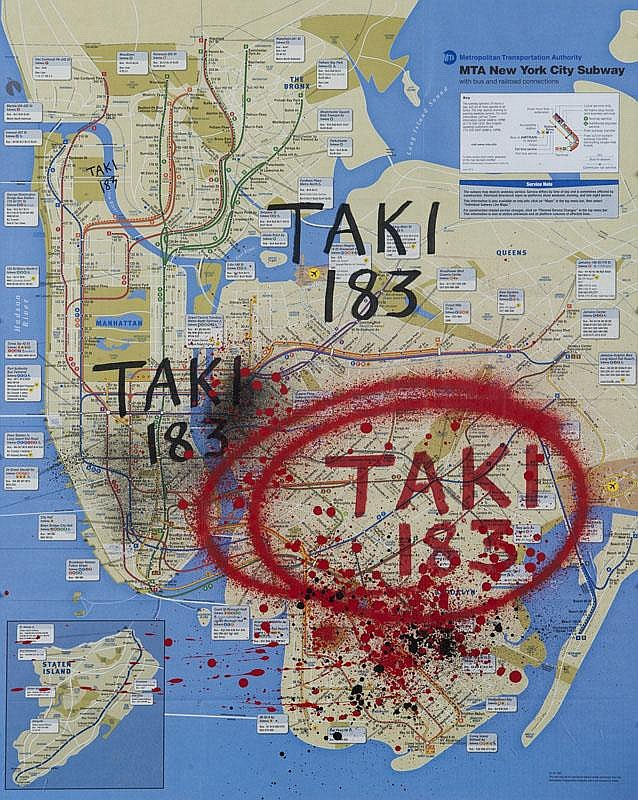 TAKI 183 (1954)  Sans titre.  Marqueur et peinture aérosol sur plan de métro  de New York.  Signé.  75 x 58 cm.