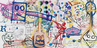 RABA (1957)  Je passe entre les gouttes (2009).  Technique mixte sur toile.  Signée, titrée et datée au dos.  100 x 200 cm.