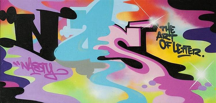 NASTY (1974)  The art of letter (2010).  Aérosol sur bois.  Signé et daté au dos.  150 x 250 cm.