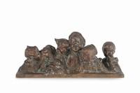Auguste SEYSSES (1862-1946) Femme nue au drapé. Sujet en bronze à patine brun vert nuancée. Signé. H. : 93 cm. Naked Woman. Bronze with brown and green nuanced patina. (Signed). 36,7 in. High.