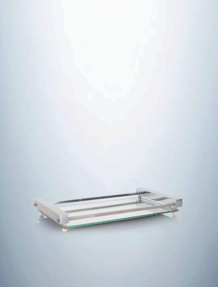 Travail moderniste plateau fond miroir rectangulaire et p for Fond miroir