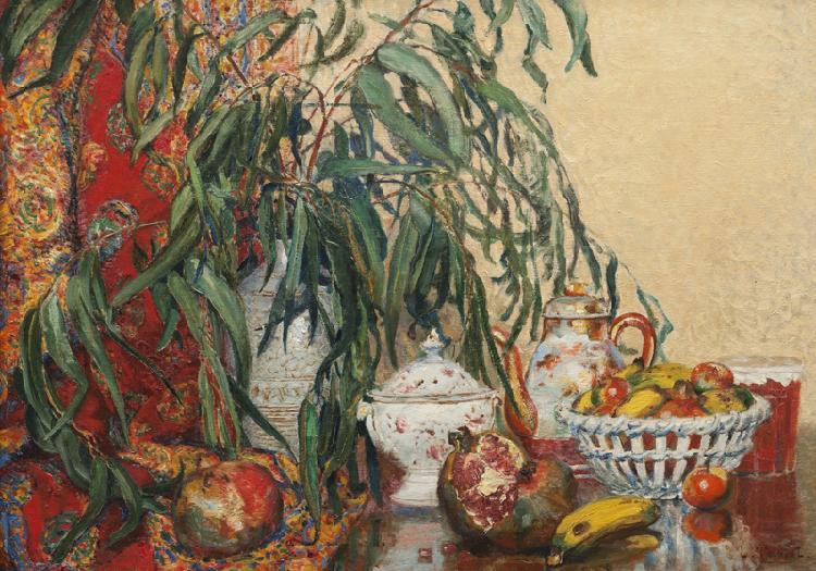 Louis Claude PAVIOT (1872-1943)  Nature morte à la corbeille de fruits.  Huile sur toile.  Signée en bas à droite.  66 x 84 cm.