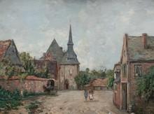 William THORNLEY (act.1858-1898)  Scène animée dans le village.  Huile sur toile. (Restauration).  Signée en bas à droite.  62 x 81 cm.