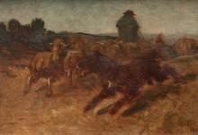 Constant TROYON (1810-1865)  Chien de berger et troupeau de moutons.  Huile sur toile.  Monogrammée en bas à droite.  32,5 x 46,5 cm.