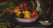 José MANGE (1866-1935)  Nature morte aux pommes.  Huile sur panneau.  37 x 66 cm.