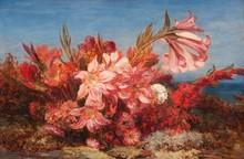 Félix ZIEM (1821-1911)  Bouquet de fleurs sur fond de mer.  Huile sur carton.  Signée en bas à droite.  42 x 63 cm.  Bibliographie :  N°589 du catalogue raisonné de Pierre Micquel, p. 323.
