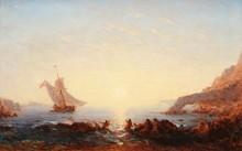 Félix ZIEM (1821-1911)  Les sirènes.  Huile sur toile.  Signée en bas à droite.  55 x 85 cm.  Bibliographie :  N°1037 du catalogue raisonné de Pierre Micquel.