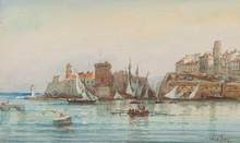 Emile HENRY (1842-1920)  Le port de Marseille.  Aquarelle. Signée en bas à droite.  18 x 30 cm.