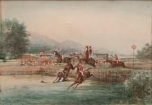 Emile HENRY (1842-1920)  Course hippique.  Aquarelle.  Signée et datée 1891 en bas à droite.  25 x 40 cm.