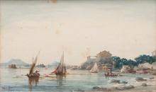 Emile HENRY (1842-1920)  Corniche près de la fausse monnaie.  Aquarelle. Signée et datée 1903 en bas à gauche.  25 x 41 cm.