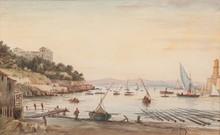 Emile HENRY (1842-1920)  L'entrée du vieux port de Marseille.  Aquarelle. Signée en bas à droite. 26 x 41 cm.