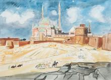 Yves BRAYER (1907-1990)  La citadelle du Caire.  Aquarelle.  Signée en bas à gauche.  63 x 85 cm.