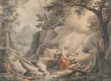 Jean Antoine CONSTANTIN D'AIX  (1756-1844)  Saint Jean à Patmos.  Dessin et aquarelle.  44 x 58 cm.