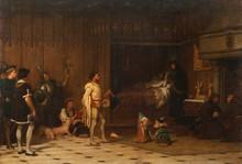 Pierre Charles COMTE (1823-1895)  Bohémiens faisant danser des petits cochons devant  Louis XI malade.  Huile sur toile.  Signée en bas à droite.  73 x 105 cm.  Commentaire :  Ce tableau a figuré au Salon de Paris de 1869.