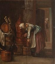 CHARDIN d'après  Scènes dosmestiques.  Paire d'huiles sur toile (restaurations).  54 x 46 cm.
