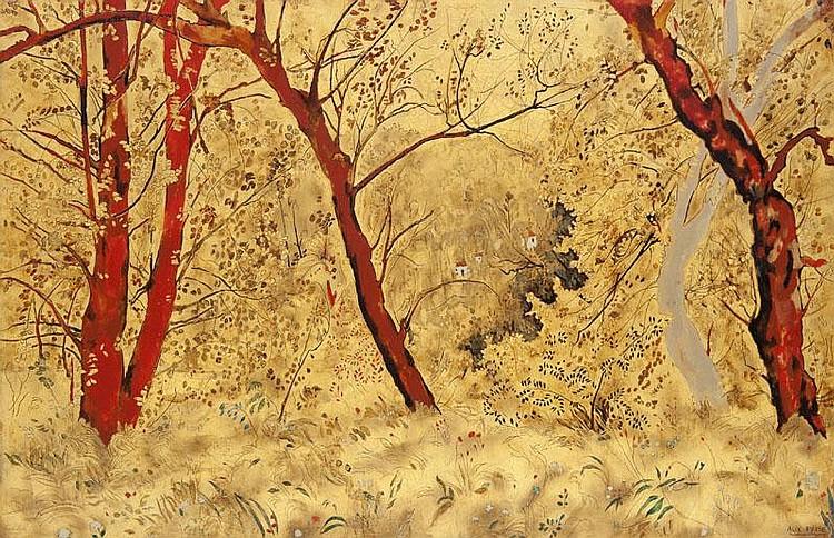 Alix ayme 1894 1989 paysage de sous bois peinture or et l for Peinture sur bois