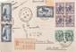 Maroc :  lettre recommandée 1923 affranchie  Yvert n°45a, double surcharge protectorat  français en bloc de 4.