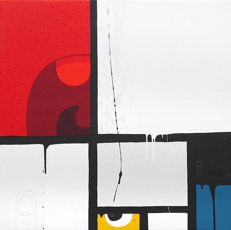 MAMBO (1969)Mondrian #3 (2012).Acrylique sur toile.90 x 90 cm