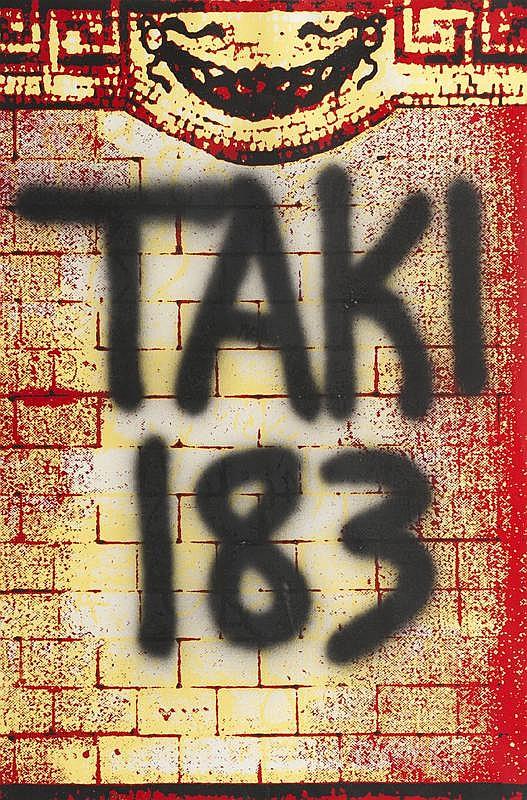 Taki 183 (1954)Sans titre.Aérosol sur lithographie.Numéroté sur 50.97 x 65 cm.