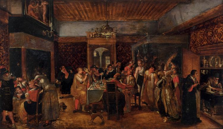 Attribué à Gillis I COIGNIET  (1542-1599)  Les sept péchés capitaux