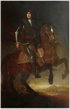 Attribué à Jacob van SCHUPPEN (1670-1751) Portrait présumé du roi de Sardaigne Victor Amédée II à cheval