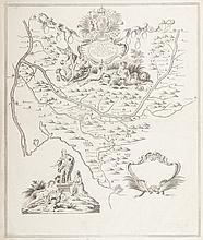 FLOQUET   Carte du cours du canal de Provence... Borde sculps. Projet Floquet. Deux   beaux cartouches allégoriques. Gravure, circa 1780. 44 x 37 cm.