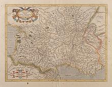 MERCATOR   Aquitania australis Regum arelatense cum confinis per Gerardem   Mercatorem. Gravure en couleurs. 1585. 35 x 47 cm.