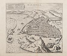 BRAUN HOGENBERG   Marseille. In Civitates Orbis terrarum. (2ème vue de Marseille, d'après le   modèle de la Cosmographie de Belleforest 1575). Gravure, 1578. MVP   p. 103 MVF 3. 31,5 x 35 cm.