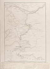 VILLENEUVE et GENDARME Carte du canal BAZIN, modifié conformément au rapport de Messieurs de Villeneuve et Gendarme. Indique les différents projets de canal de la Durance à Marseille (Bazin modifié, Garella, Montricher). Indications manuscrites au