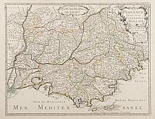 DUVAL La Provence divisée en ses vigueries et baillages par P. Du Val, géographe du Roy A Paris chez Mlle Duval, fille de l'Auteur... Très belle carte de Provence, moins connue que celle de Sanson 1652. Rare gravure en couleurs, circa 1670. 41 x 53