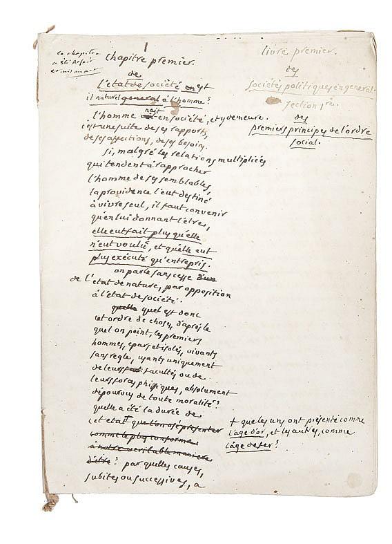 PORTALIS Jean-Etienne-Marie (1746-1807) Des sociétés politiques en général, 1790-1805 Ensemble de deux manuscrits : Un MANUSCRIT autographe de premier jet, non daté, non signé, écrit par Portalis entre 1800 et 1805 auquel est joint un manuscrit