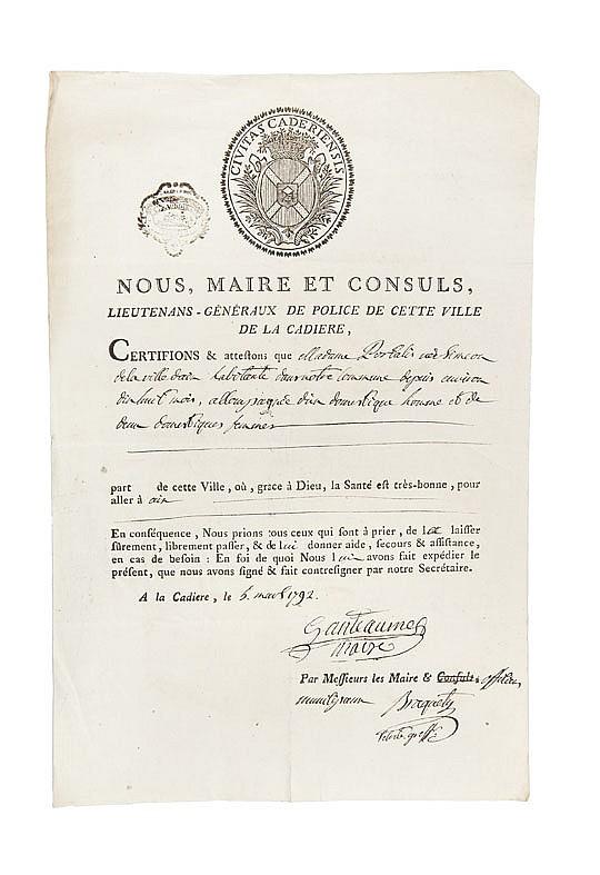 PORTALIS DOCUMENTS SUR LE VAR. 1792 -1795 Réunion de 11 documents de la période révolutionnaire.