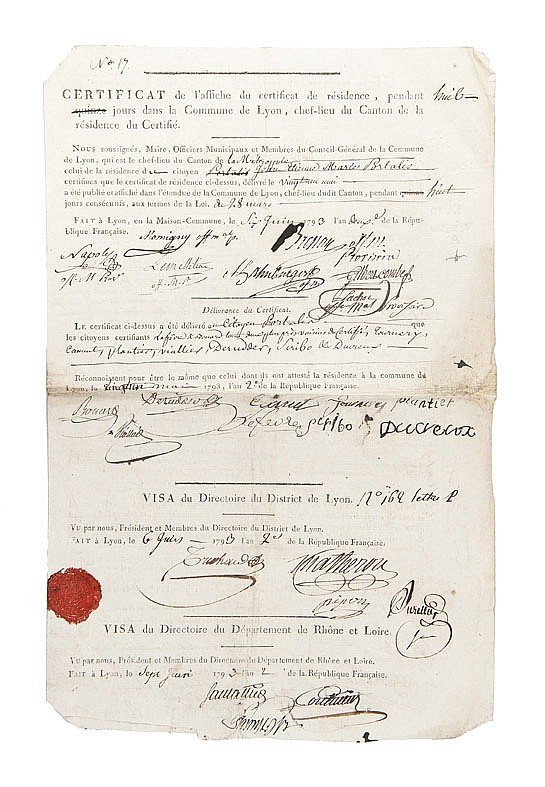 PORTALIS PASSEPORTS et CERTIFICATS, 1793-1795 Réunion de 6 documents de la période révolutionnaire.