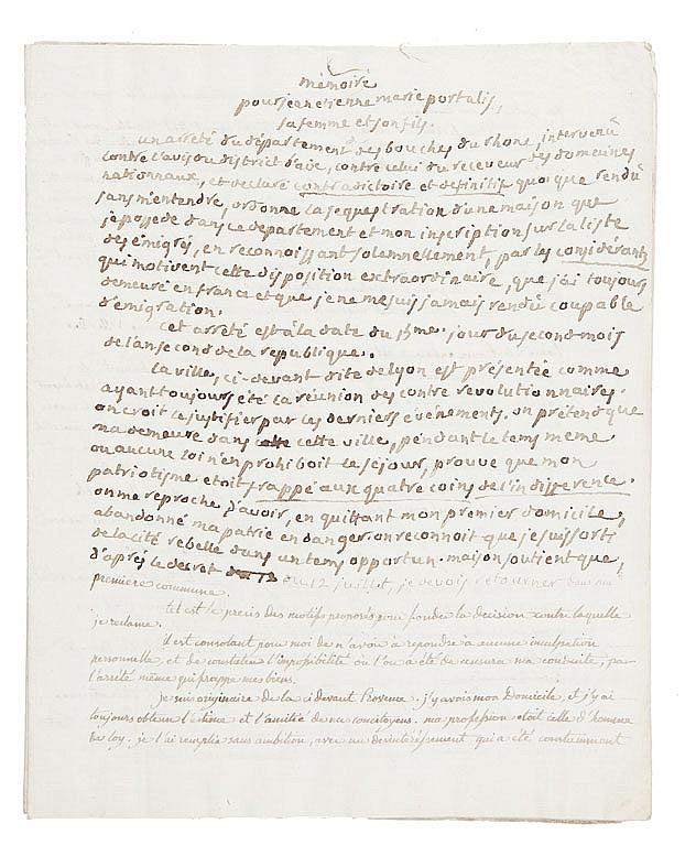 PORTALIS Jean-Etienne-Marie (1746-1807) Mémoire pour Jean-Etienne-Marie Portalis, sa femme et son fils. Vers 1793 Réunion de deux copies manuscrites d'époque du précédent manuscrit.