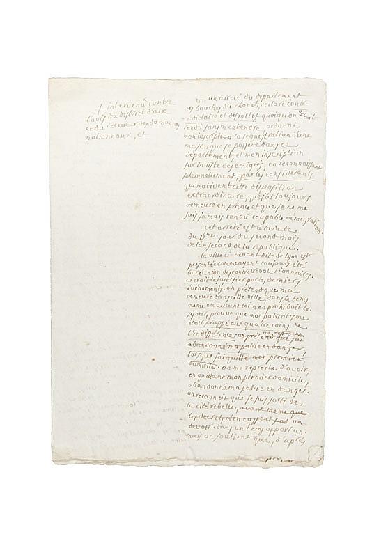 PORTALIS Jean-Etienne-Marie (1746-1807) Mémoire justificatif contre la décision de mise sous séquestre de son domicile aixois et de son inscription sur la liste des émigrés prise par le département des Bouches-du-Rhône le 5 novembre 1793.