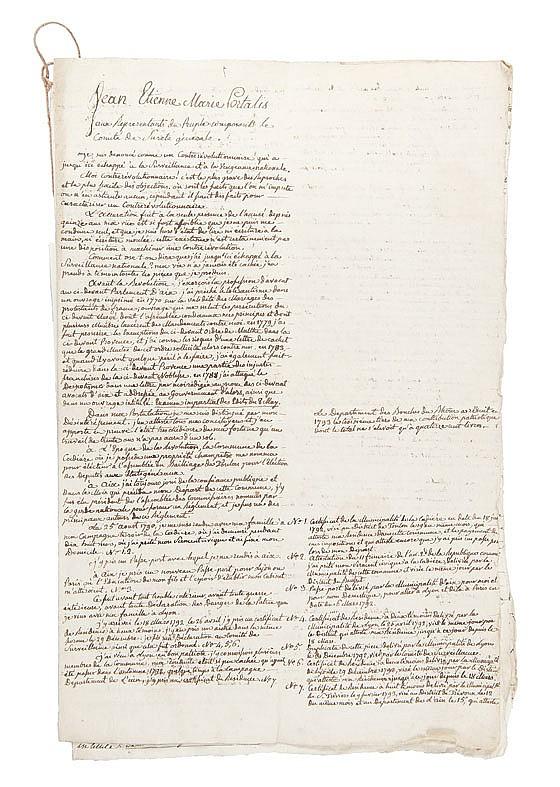 PORTALIS Jean-Etienne-Marie (1746-1807) Lettre dictée par Portalis à son fils Joseph-Marie et écrite par celui-ci. 3 pages et demi in-folio écrites à l'encre brune sur papier vergé