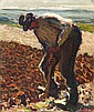 RENÉ SEYSSAUD (1867-1952)   Lou Luchetaire (Le bêcheur). Circa 1914.   Détrempe réhaussée d'huile sur carton.   Signée en bas à droite.   26 x 32 cm.