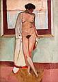 ALFRED LOMBARD (1884-1973)   Nu dans l'atelier. 1909.   Huile sur panneau.   Signée en bas à droite.   105 x 75 cm.