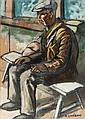 AUGUSTE CHABAUD (1882-1955)   Paysan assis. Circa 1925.   Huile sur carton.   Signée en bas à droite.   106 x 78 cm.