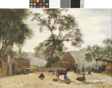 PAUL-DOMINIQUE PHILIPPOTEAUX (FRA/ 1846-1923) Place de marché signé 'D Philippoteaux' (en bas à droite)